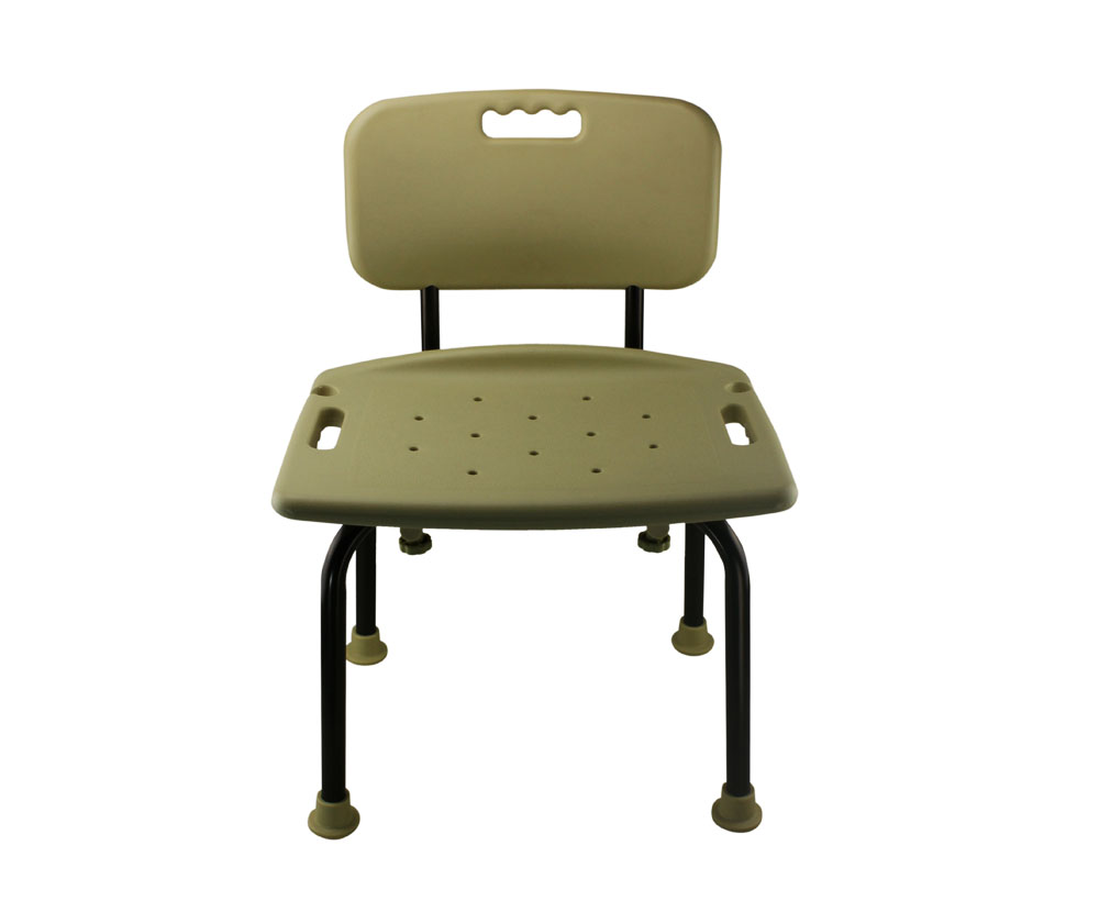 Tool-Free Bathroom Shower Chair with Backrest - Classic Brown Series ...